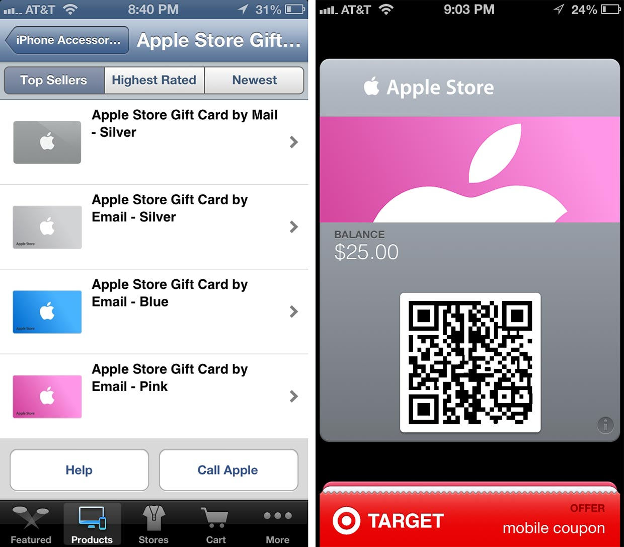 Apple Store iPhone app updated, claims to let you email gift cards ...
