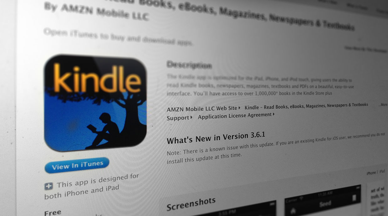 Amazon warns iOS Kindle app users to avoid latest update