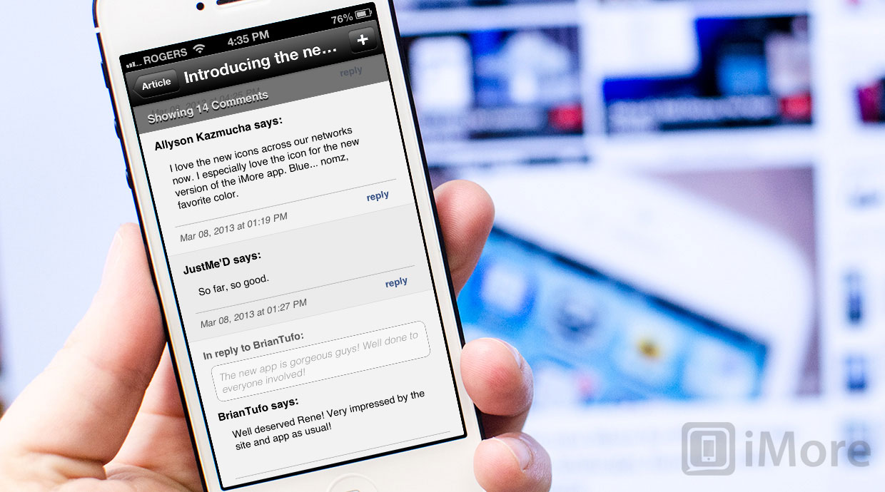 How to comment on a post using the iMore 2.0 for iPhone app