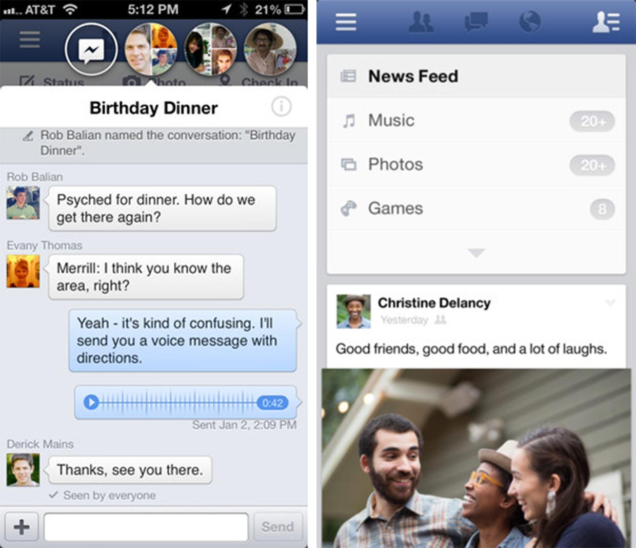 Facebook for iOS updated with news feed redesign, brings chat heads to limited number of users