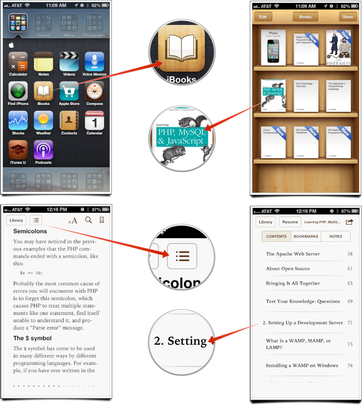 How to view and navigate through a book's table of contents