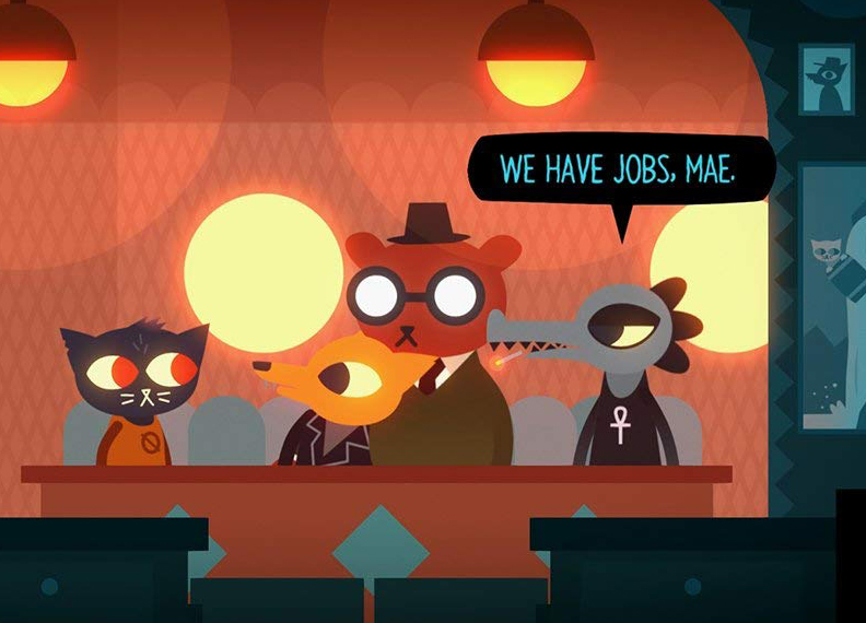 Night in the Woods a Cat, fox, bear, and alligator sitting in a restaurant