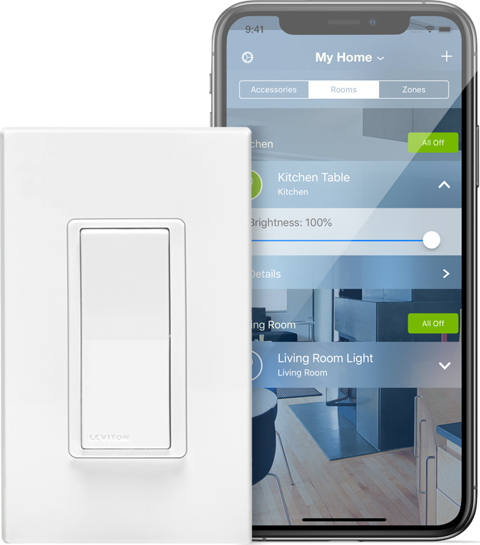 Leviton light switch in front of iPhone X series phone