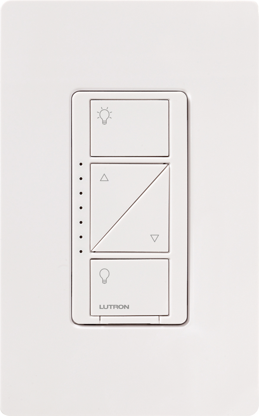 Lutron caseta wireless dimmer switch with 4 buttons shown up close