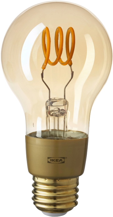Ikea Tradfri filament light bulb with brown glass on a white background