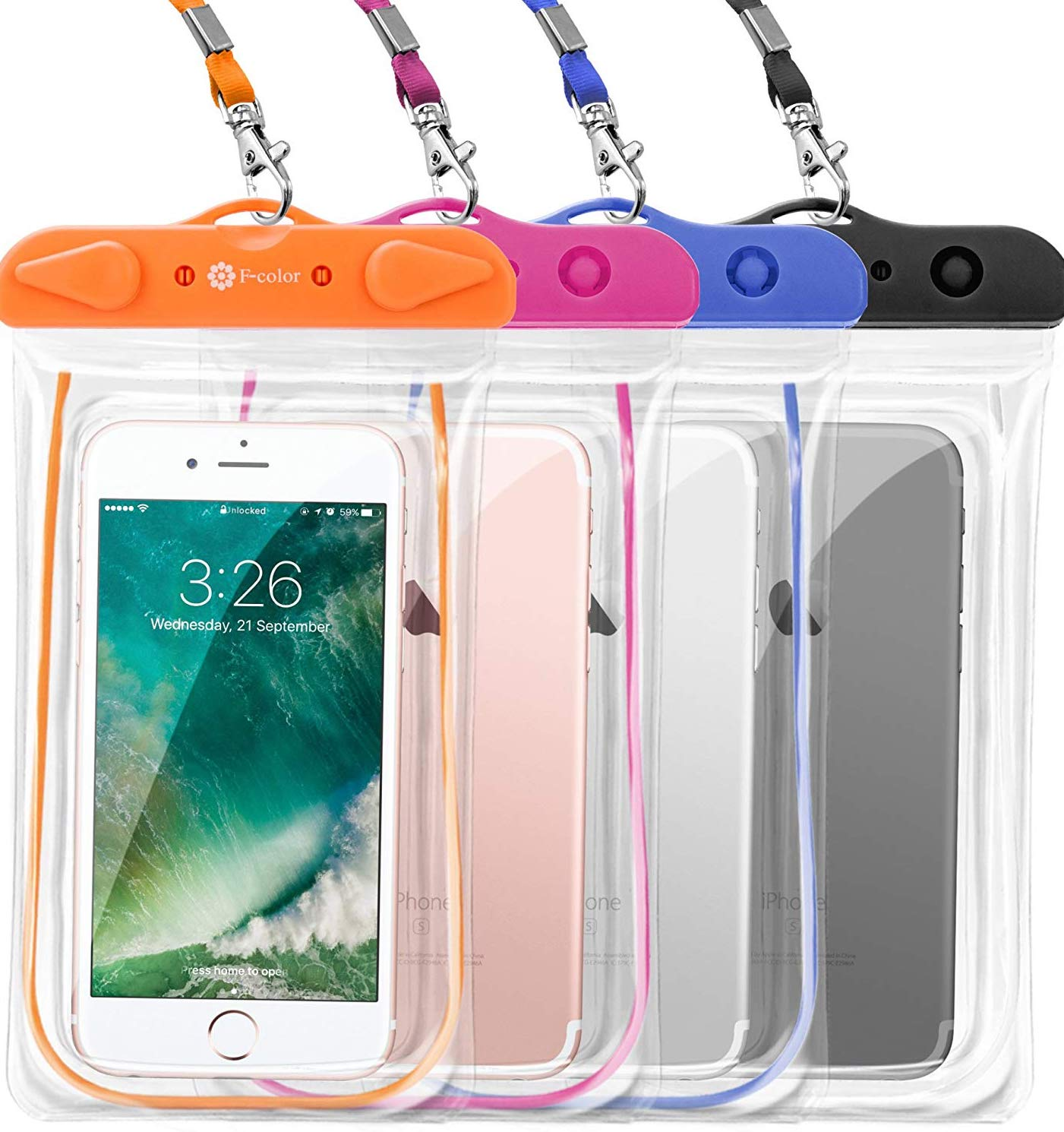 F-color waterproof cases for iPhone 8 Plus.