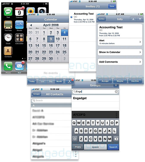 iPhone 2.0 Contact Search and Event Invitations