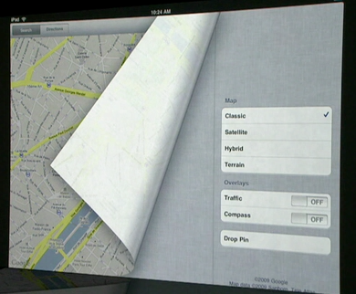 iPad Maps page curl