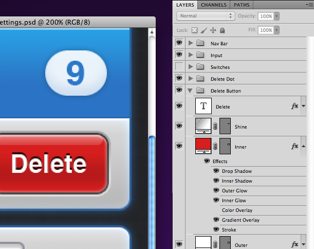 From the app Consume, an example of a vector interface element set up in Photoshop