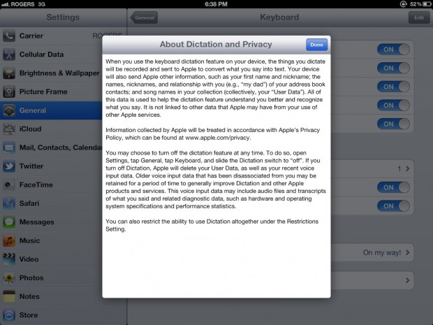 iPad dictation about privacy policy
