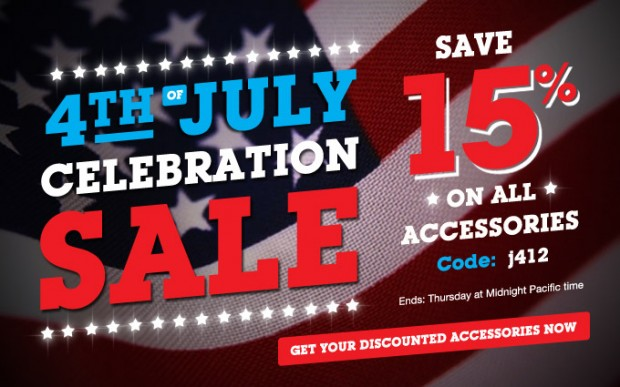 15% off ALL iPhone and iPad Accessories! Use Coupon j412 for star-spangled July 4th savings!