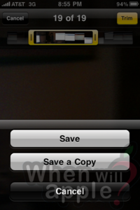 iPhone 3.1 Save Edited Video As