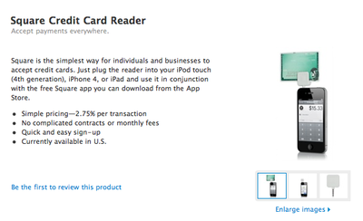 Apple to sell Square credit card reader for iPhone, iPad