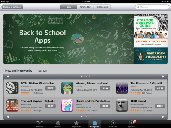 Apple updating iPad App Store with better category pages?