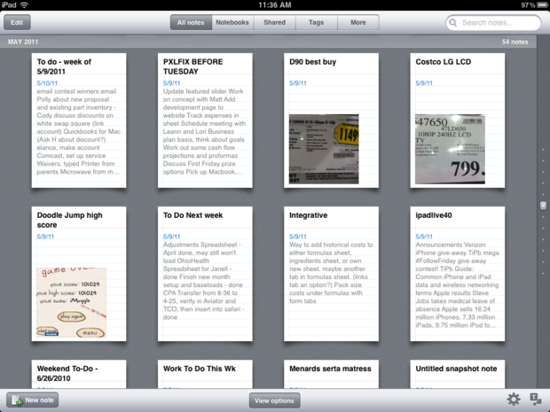 View notes or notebooks with a simple tap in Evernote for iPad