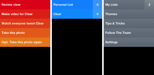 Items, lists (of items), and the menu are the three simple layers that comprise clear