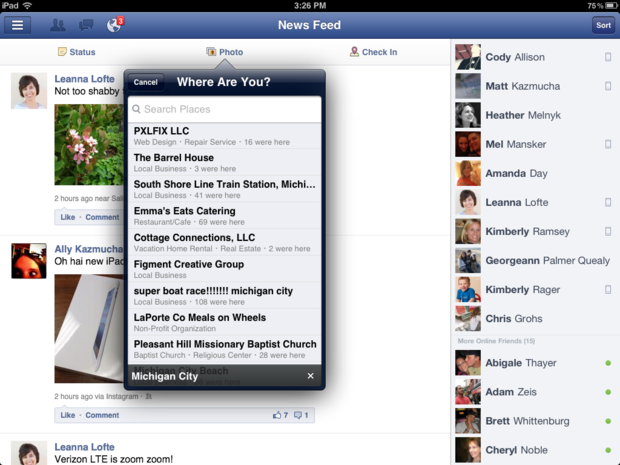 Tag a location for your video on an iPad for facebook