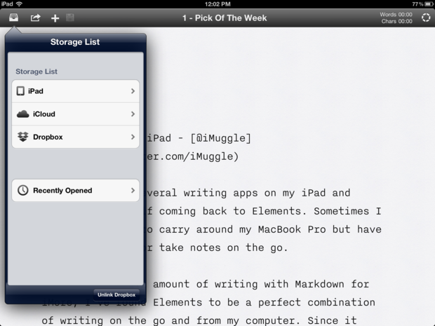 iA Write easily allows you to navigate through files