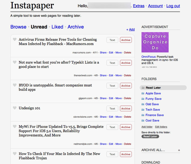 Instapaper on the web sticks to the standard format of just listing articles on a page. You can click into them to view the full blown desktop version or view a text version as well. It gets the job done but it's nothing too exciting.