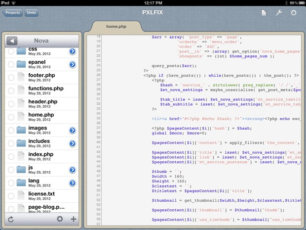 Gusto for iPad main editor window