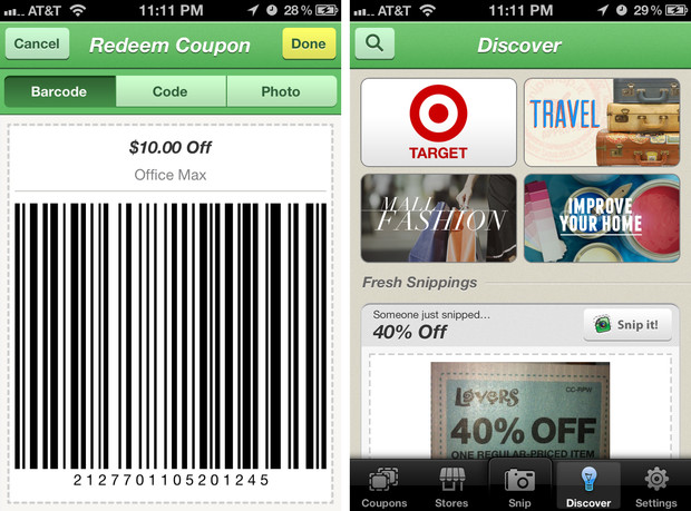 Snipsnap coupon app for iphone review say goodbye to carrying when redeeming a coupon with snipsnap you have two different options for the clerk the easiest one is the barcode which can be scanned by a store scanner fandeluxe Gallery