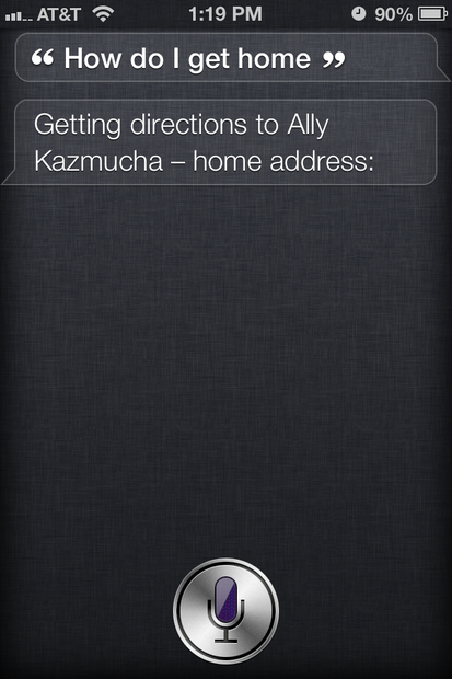 Get home with Siri