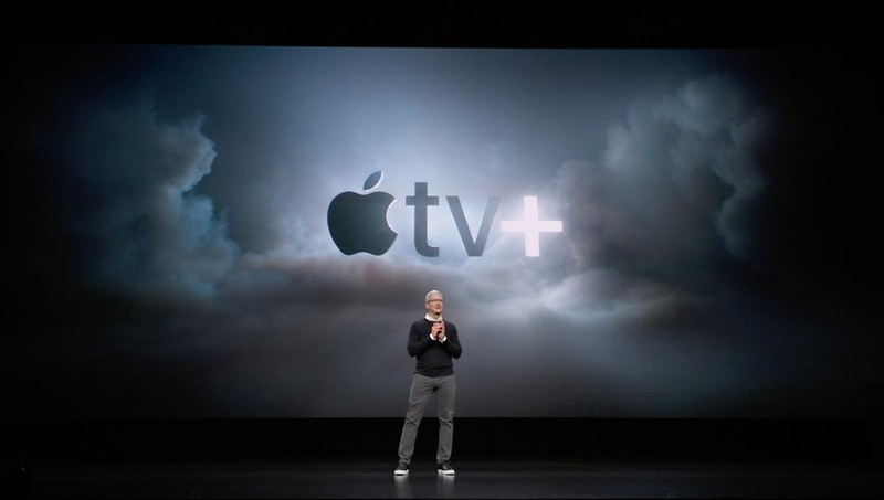 Tim Cook presenting Apple TV+
