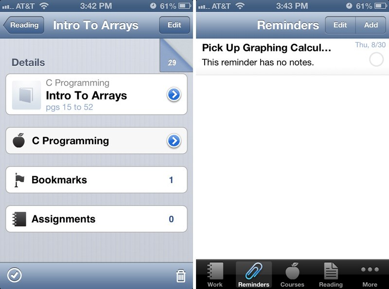 iHomework for iPhone user interface