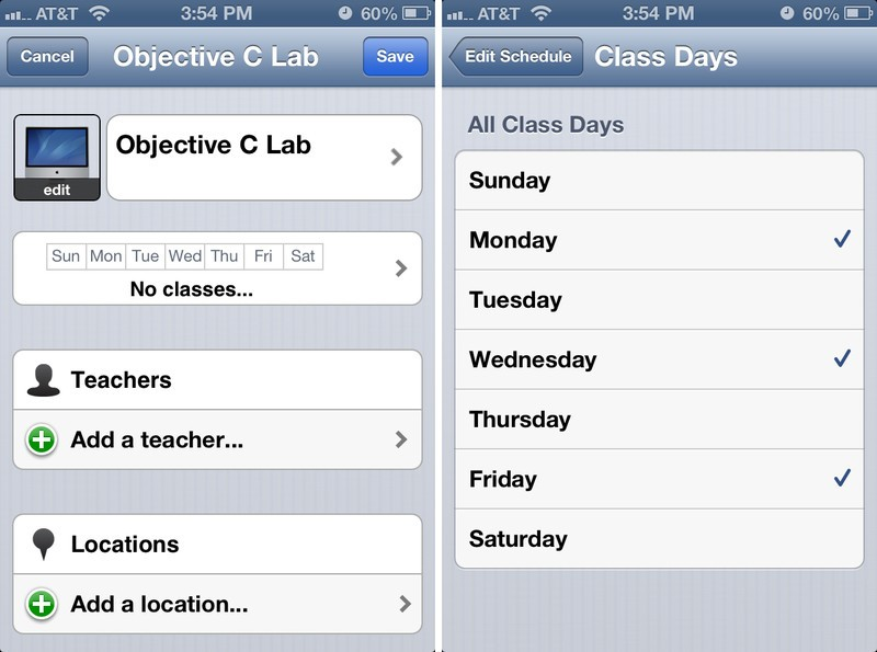 iHomework for iPhone managing courses and terms