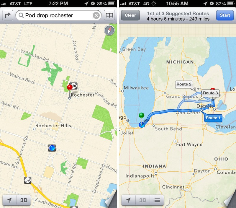 iOS 6 maps route directions