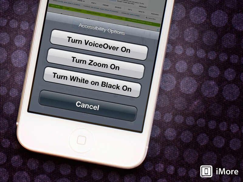 How to select Accessibility options with an iPhone Home button triple-click