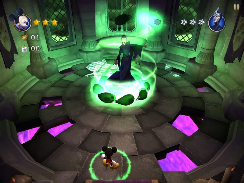 Castle of Illusion tips, tricks, and cheats: Defeating Mizrabel: Target practice