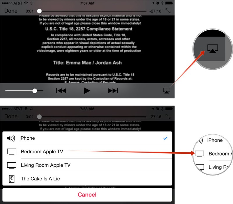 how to play from iphone to apple tv