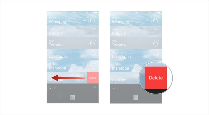 Swipe on a location to reveal a delete button and then tap on delete.