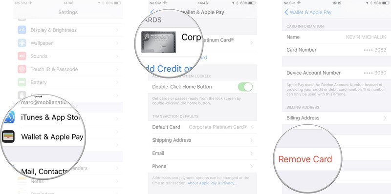 Tap Wallet & Apple Pay in Settings, tap the card you want to remove, scroll to the bottom and tap Remove This Card