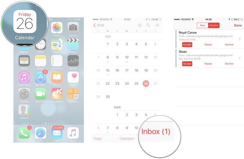 How to accept an event invitation in Calendar on iPhone and iPad by showing: Open calendar app, tap inbox, then choose from available options