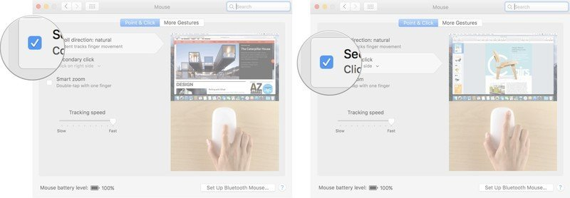 To change the scroll direction, right-click, and tracking speed of your mouse on a Mac, tick the Scrolling direction: natural box, then click the box for Secondary click to enable right-clicking.
