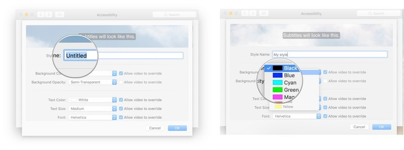 To create custom captions, enter a name for the style, click the dropdown, click a background color
