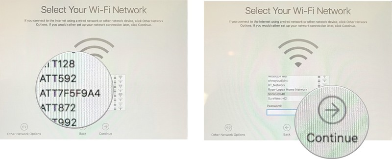 Set up your new Mac by showing: Select a Wi-FI, enter a password, then click Continue