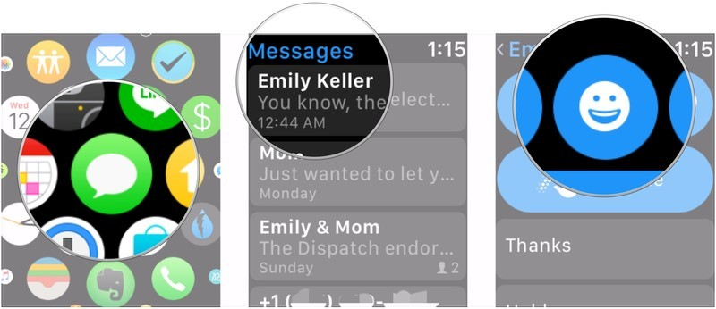 Sending an emoji on Apple Watch showing the steps to tap Messages, then tap a message, and then tap the emoji picker