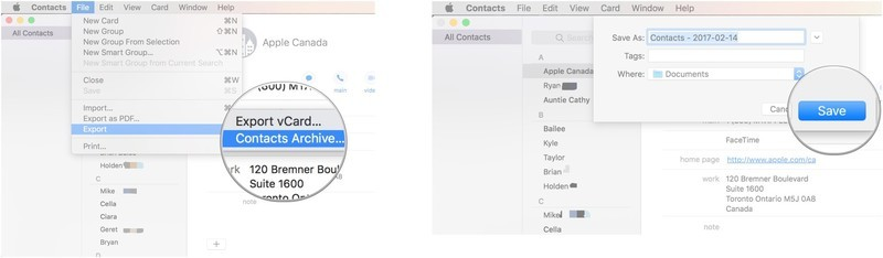 Click File, Export, Contacts Archive, name the file, and click save