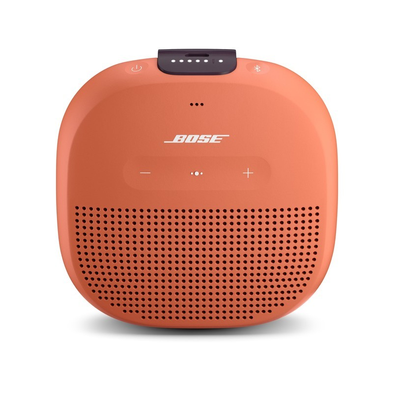 Front view of Bose's SoundLink Micro Bluetooth speaker in orange against a white background