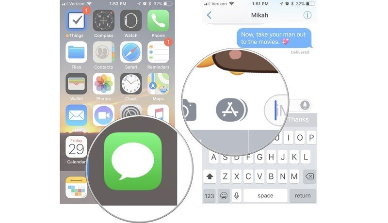 How to access your Messages apps showing how to launch iMessage, then tap the App Tray