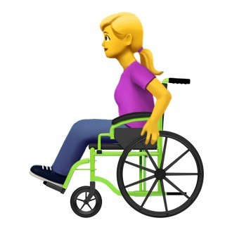 female person in manual wheelchair emoji