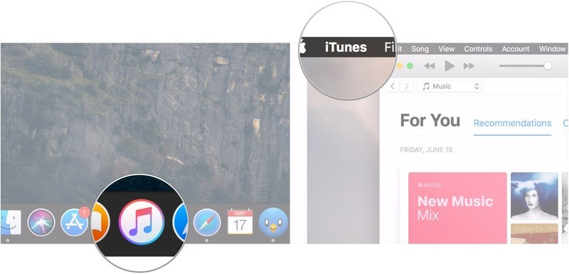 Delete iPhone backup on macOS Mojave showing how to open iTunes and click iTunes in the Menu bar