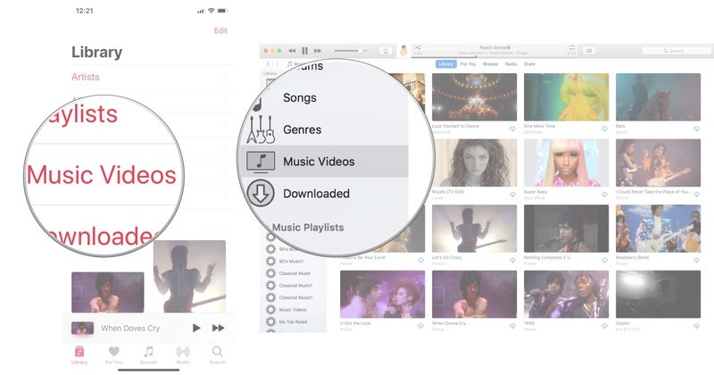View music videos in Apple Music: Select Music Videos from your Library