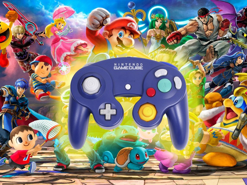 Console with Super Smash Bros. background