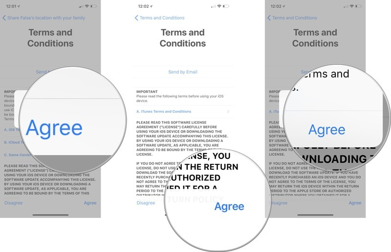 Add a child account: Tap Agree, Tap Agree again, and tap Agree again