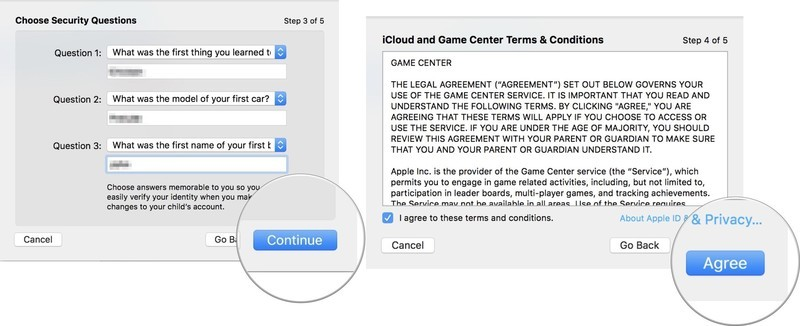 Add a child account: Enter your security questions and answers, then click continue, then agree to Apple's T&C, then click Continue