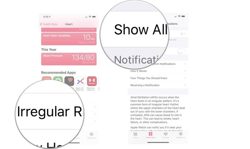 To view irregular rhythm notification data on the Health app for iPhone, open the Health app, tap the Browse tab, then choose Heart. Scroll down, tap irregular rhythm notification, then select Show All Data.